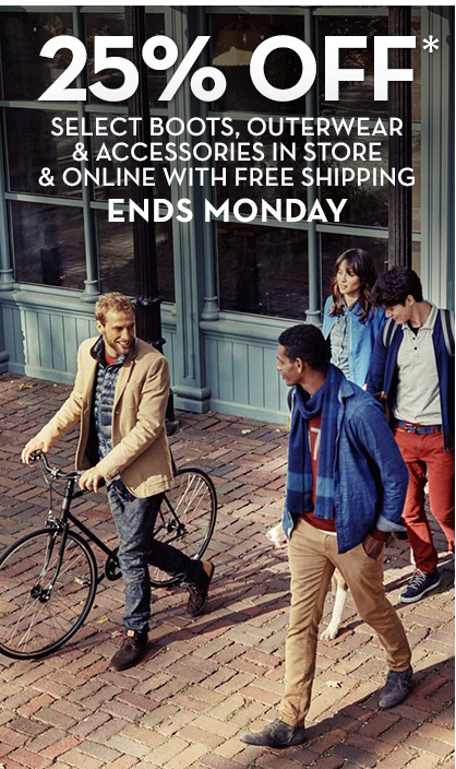 25% OFF* Select Boots, Outerwear & Accessories In Store & Online With Free Shipping ENDS MONDAY | Mens Boots, Hiking Boots & Work Boots | Timberland.com